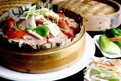瓷可口食物油煎的肉米 免版税库存照片
