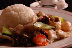 瓷可口鱼食物炒饭 免版税库存图片
