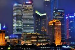 瓷城市东晚上pu上海 免版税库存图片