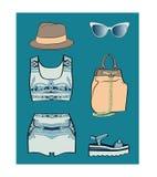 瓷夏天成套装备集合 免版税图库摄影