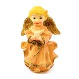 瓷天使小雕象与在白色背景隔绝的鸽子的 免版税库存图片