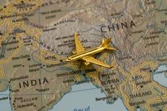 瓷对旅行的印度飞机 库存照片