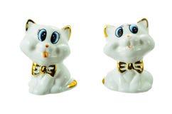 瓷小雕象二只小猫。 免版税库存照片