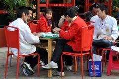 瓷扮演工作者的mahjong pengzhou 库存图片