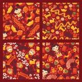 瓷文化的春节无缝的样式传染媒介传统红色灯笼东方装饰为亚洲假日 库存例证