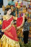 瓷文化舞蹈演员公平的guangxi 免版税库存照片