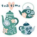 瓷断送新瓷草莓茶时间 与花的花卉水壶 向量例证