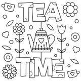 瓷断送新瓷草莓茶时间 着色页 也corel凹道例证向量 免版税库存图片