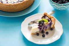 瓷断送新瓷草莓茶时间 自创蓝莓乳酪蛋糕用在蓝纸背景的乳清干酪乳酪 免版税库存图片