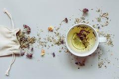 瓷断送新瓷草莓茶时间 烘干清凉茶和杯子在灰色背景的热的茶 免版税库存图片