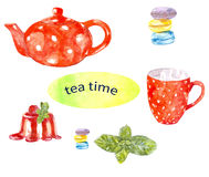 瓷断送新瓷草莓茶时间 皇族释放例证