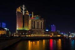瓷晚上上海视图 免版税库存图片