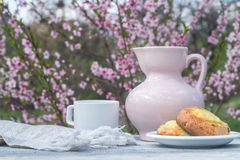 瓷桃红色水罐、白色杯子和面包店在白板桌上以开花的灌木为背景 库存照片