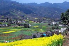 瓷横向山pengzhou谷 免版税库存照片