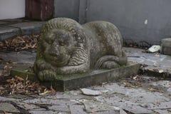 瓷狮子南京替补石头 免版税库存照片
