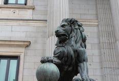 瓷狮子南京替补石头 库存图片