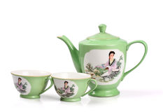 瓷茶壶,茶杯 库存照片