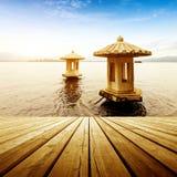 瓷西方杭州的湖 库存图片