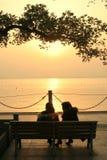 瓷西方湖的日落 免版税库存图片