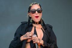 瓷黑色(美国工业流行音乐歌手歌曲作者、交谈者和模型) 库存图片