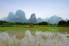 瓷guangxi石灰岩地区常见的地形省风景 免版税库存照片