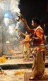 甘加Aarti在瓦腊纳西 图库摄影