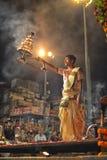 甘加Aarti仪式在瓦腊纳西 库存照片