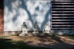 甘地的没有邪恶的猴子雕象 库存照片