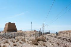 甘肃,中国- 2015年4月13日:与伟大的Wa的铁路轨道横穿 免版税库存图片