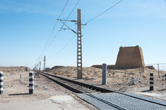 甘肃,中国- 2015年4月13日:与伟大的Wa的铁路轨道横穿 免版税库存照片