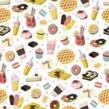 甜与苹果饼、strawbery饮料、冰淇凌,油炸圈饼等的点心无缝的动画片样式样式 库存图片