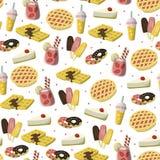 甜与苹果饼、strawbery饮料、冰淇凌,油炸圈饼等的点心无缝的样式 动画片样式背景 库存例证