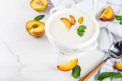 甜乳脂状的桃子汤 库存照片
