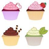 甜五颜六色的杯形蛋糕 免版税库存图片