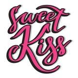 甜亲吻-桃红色手写的文本,印刷术,书法,在上写字 免版税库存照片