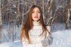 甜俏丽的女孩在冬天公园 免版税库存照片
