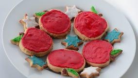 甜保险开关曲奇饼为犹太新年犹太新年假日 股票视频