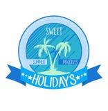 甜假日商标,象征 与棕榈的传染媒介例证在海岛上 夏令时 免版税库存图片