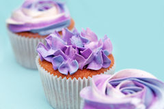 甜假日自助餐用生动的杯形蛋糕 免版税库存照片