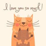 甜卡片为与猫的父亲节 免版税库存图片