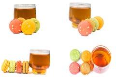 甜和五颜六色的法国蛋白杏仁饼干或macaron 免版税库存图片