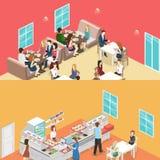 甜商店、咖啡馆、军用餐具和餐馆厨房等量平的内部  库存图片