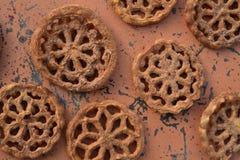 甜墨西哥食物曲奇饼酥皮点心Bunuelos 图库摄影