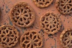 甜墨西哥食物曲奇饼酥皮点心Bunuelos 库存图片