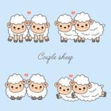 甜夫妇动物动画片传染媒介例证 爱上心脏的逗人喜爱的绵羊 向量例证
