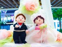 甜婚礼人和夫人玩偶 免版税库存图片