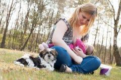 甜小狗,当母亲喂养她的女儿时 免版税图库摄影