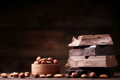 甜巧克力点心宏观的部分 免版税库存照片