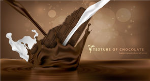 甜巧克力酒吧巧克力落 库存图片
