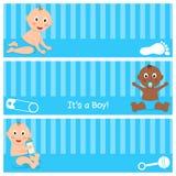 甜新出生它是被设置的男孩横幅 库存例证